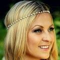 Simples charme pérola jóias cabelo para as mulheres corrente de ouro de metal headband grecian headchain cigana pedaço cabeça contas brancas cadeia cabeça