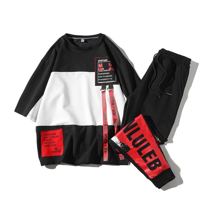 2019 New Summer Style Men Tracksuit Mens Short Sets Sportswear Casual Mens Short Sets T Shirt And Men Pants LBZ85