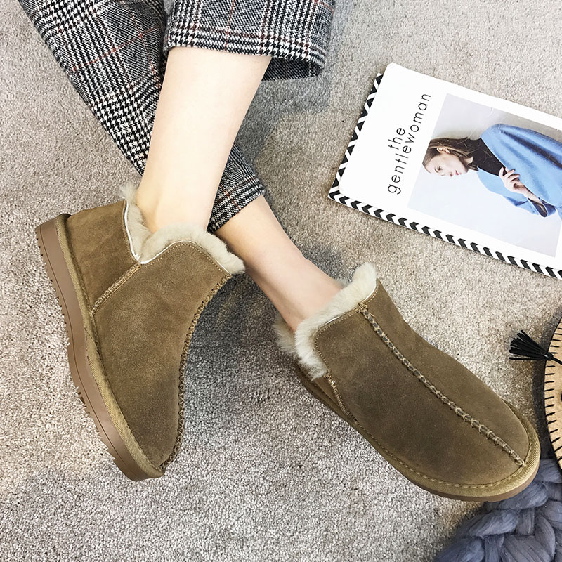 SWYIVY Winter Ankle Boots Wool Fur Woman 2018 Slip On Female Snow Boos Warm Shoes Genuine Leather Comfortable Winter Snowboots