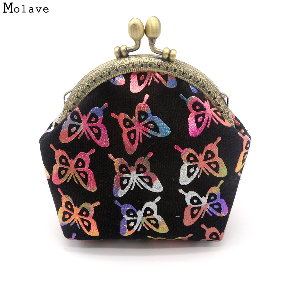 купить Naivety Coin Purse drop shipping New Lady Vintage Butterfly Prints Small Wallet Hasp Coins Pocket Clutch Women Bag AUG18 недорого