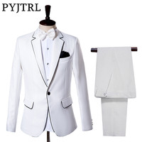 (Jacket + Pants) Men's Suits Groom Tuxedo Dress White Wedding Gentleman Slim Suit