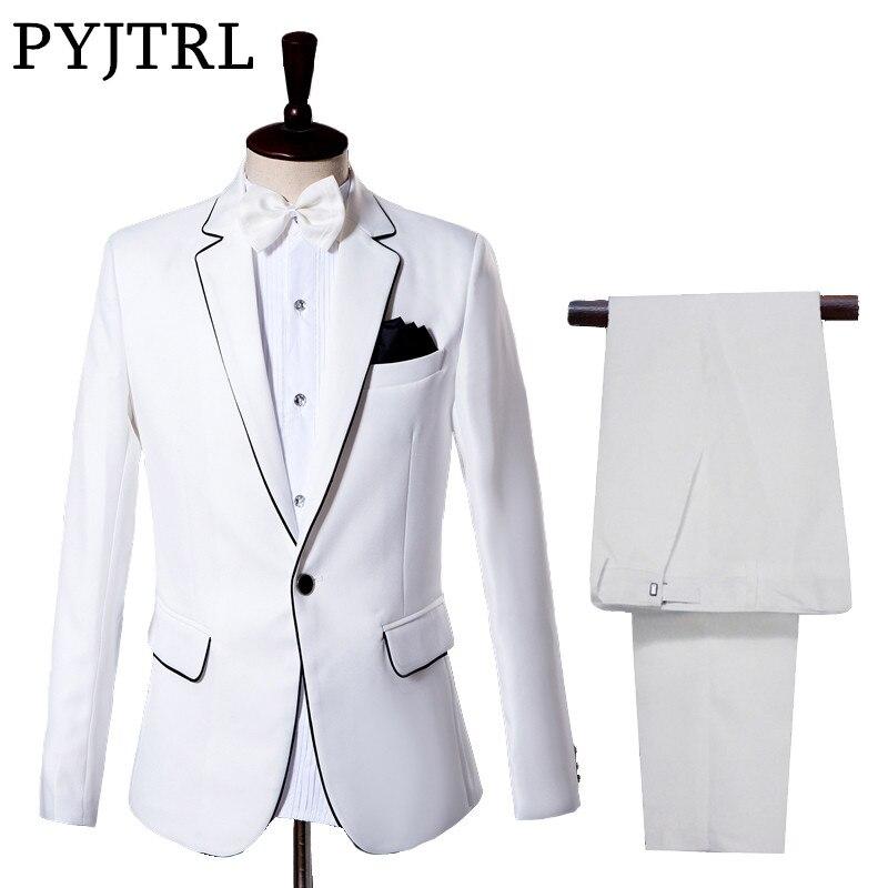PYJTRL Men's Classic Beige White Suits Wedding Groom Tuxedo Prom Dress Gentleman Slim Fit Suit Stage Singers Clothing