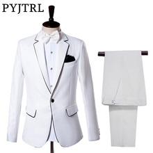 PYJTRL גברים של קלאסי בז לבן חליפות חתונה חתן טוקסידו לנשף שמלת אדון Slim Fit חליפת זמרי שלב בגדים