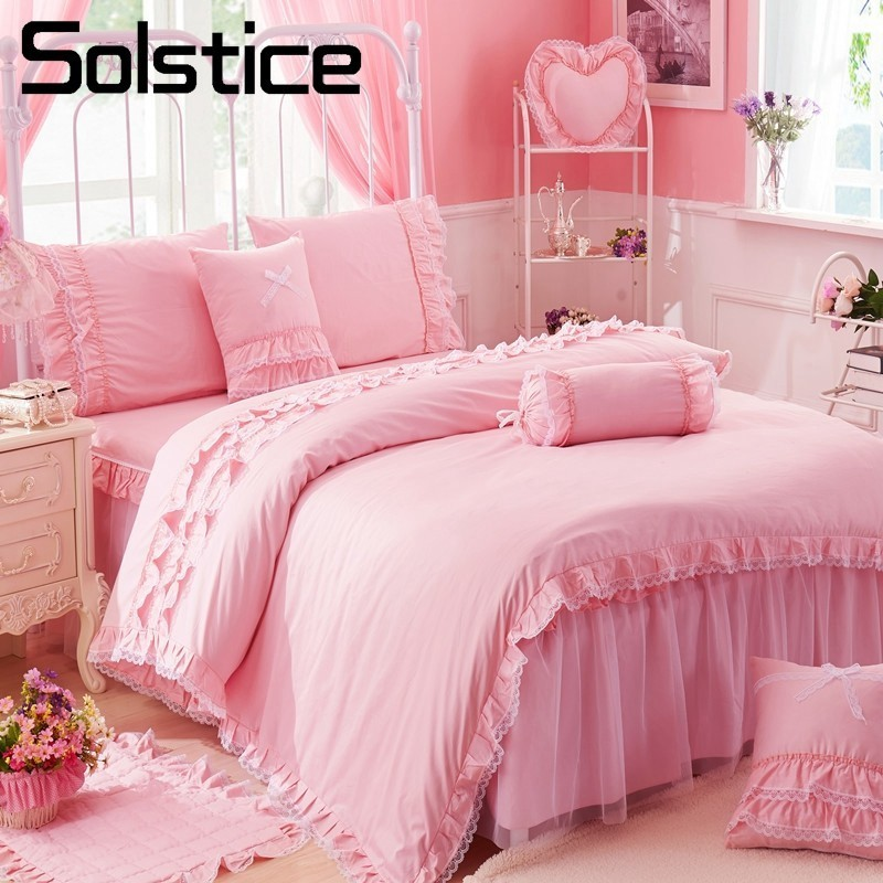 Solstice Romance Cotton Linens 4pcs Bedding Set Twin Full Queen King Size Bedspread Wedding Pink Lace