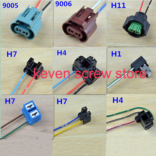 1pcs H7/H4/H1/9005/9006/H8 halogen bulb socket extension wire power