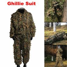 все цены на Multicam Outdoor Sport Airsoft Woodland Sniper Ghillie Suit Shirt + Pant Camouflage Tactical 3D Leaf Camo Jungle Hunting Clothes онлайн