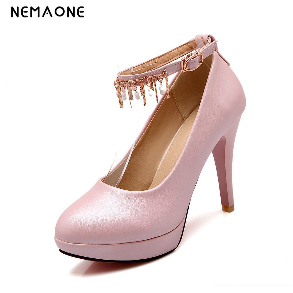 NEMAONE Woman Pumps high heels platform ladies ankle strap womens pumps Thin heels Sexy office shoes for women Big size 34-43 spring autumn gold women pumps sexy ankle strap ladies shoes big size 33 45 super high 12 cm platform high heels zapatos mujer