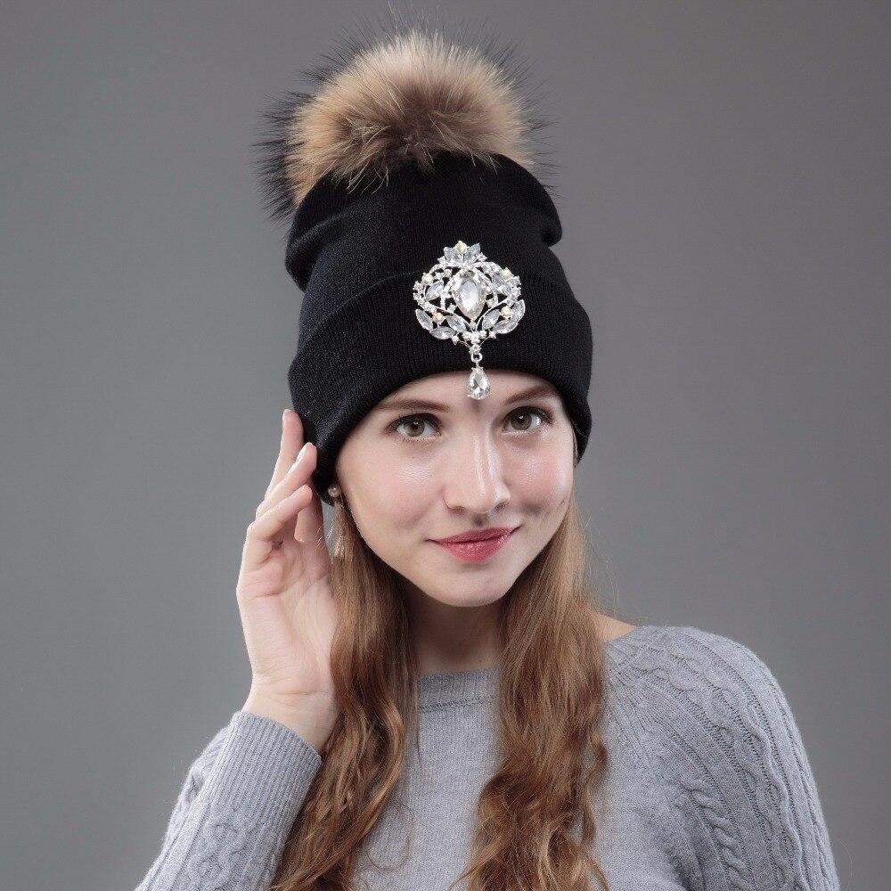 OHCOXOC New Women Beanies Real Mink Fur Pom Poms Ball Cap Keep Warm Beanies Skullies Big Shiny Rhinestone Autumn Winter Hat