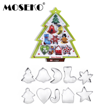 MOSEKO 10pcs/set Christmas Cookie Cutters Stainless Steel  Cut Candy Cake Mold Fondant Cutter DIY Baking Tools