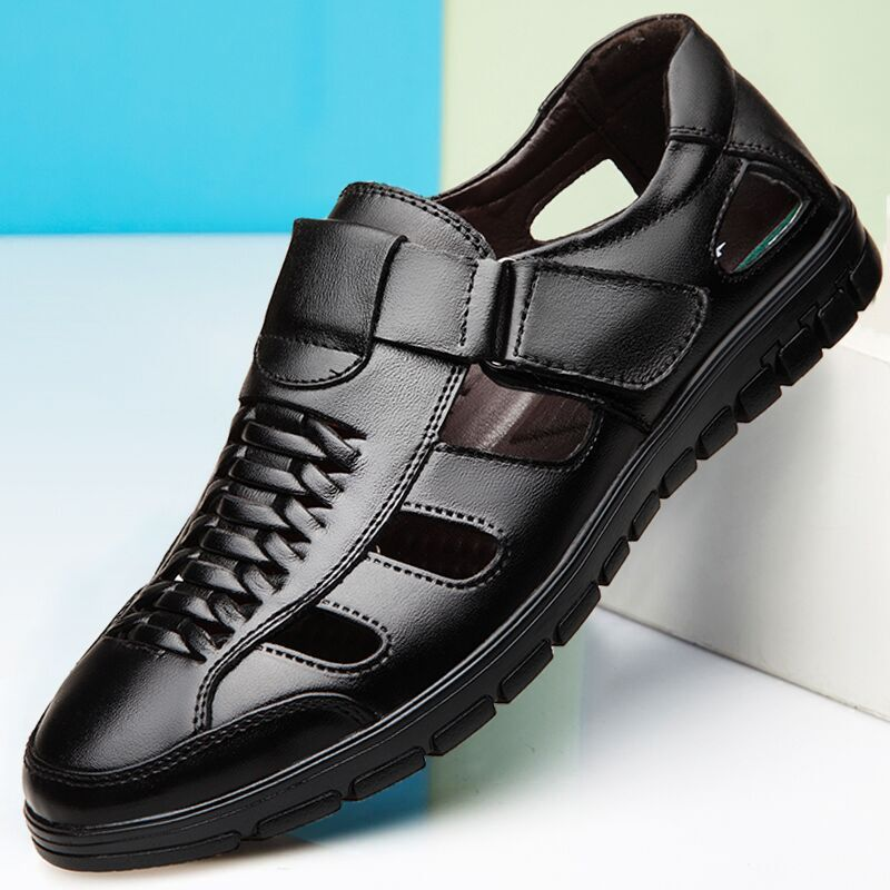Summer new men's leather shoes, middle-aged, stylish, casual, breathable(China)