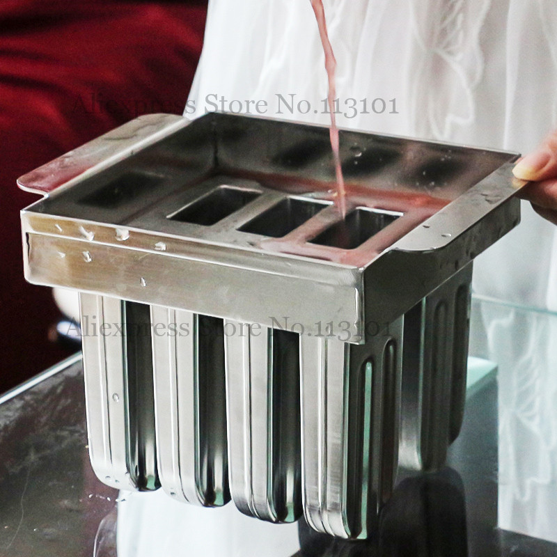 8pcs/Set Popsicle Mold Stainless Steel Ice Lolly Mould New Ice-cream Pop Mold with Sticks Holder