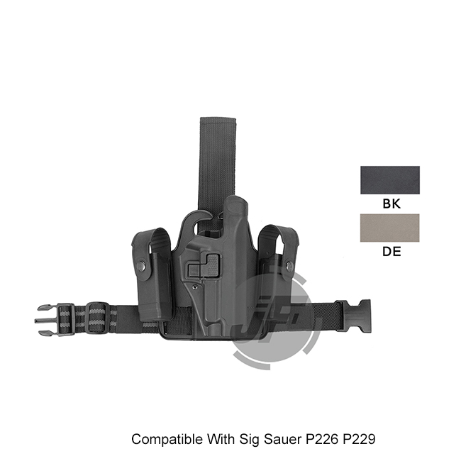 Tactical Serpa Level 2 Auto Lock Duty Right Hand Leg Thigh Quick Pistol Holster w/ 2x Magazine Pouch for Sig Sauer P226 P229 tactical 1911 leg holster right hand paddle drop thigh pistol gun holster with snap button magazine torch pouch for colt 1911
