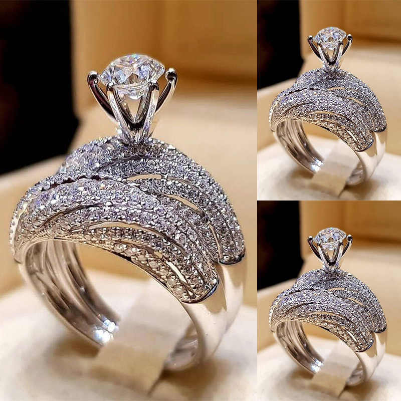 Silvery 2PCS/Lot Trendy High Quality Popular Wedding Ring Crystral Hot Sale 2019 New Fashion Jewelry Size 5-12 Women
