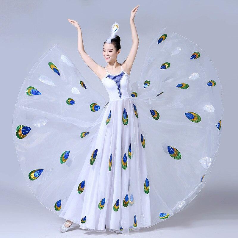 Di Alta Qualità 2019 Nuova Performance Di Danza Costume Di Ballo Per Adulti Di Sesso Femminile Prestazioni Bianco Di Ballo Del Pavone Grande Gonna Swing