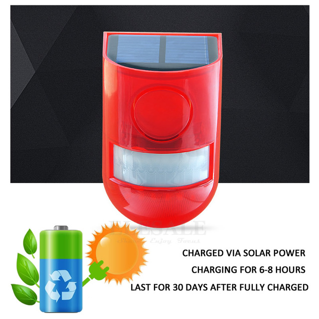 Solar Powered Infrared Motion Sensor Detector Siren Strobe Alarm System Waterproof 110dB Loud For Home Yard Outdoor Security 2