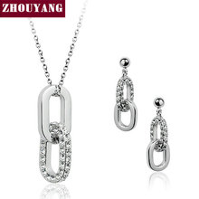 Top Quality ZYS043 Double Rounds  White Gold Plated Jewelry Necklace Earring Set Rhinestone Made with Austrian  Crystals