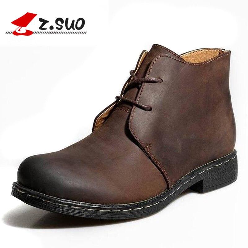 Bottes en cuir véritable Vintage britannique hommes bottes en cuir marron Martin pour homme automne hiver bottes de travail imperméables chaussures - 2
