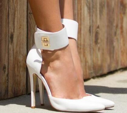 Sestito/2018 г.; женские милые белые модельные туфли на высоком каблуке; женские вечерние туфли лодочки с острым носком и ремешком на щиколотке; весенне летняя обувь для девочек