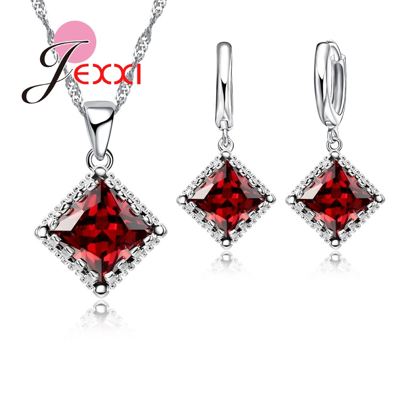 Bridal Jewelry Sets 925 Sterling Silver Fine Jewelry Red Austrian Crystal Pendant Necklaces Earrings For Women Bijoux