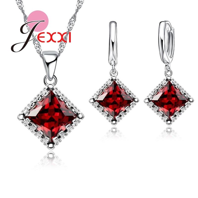 Jemmin svadbeni nakit setovi 925 sterling srebro fini nakit crveni austrijski kristal privjesak ogrlice naušnice za žene