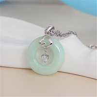 925 Sterling Silver light green jade Necklace Pendant Jewelry