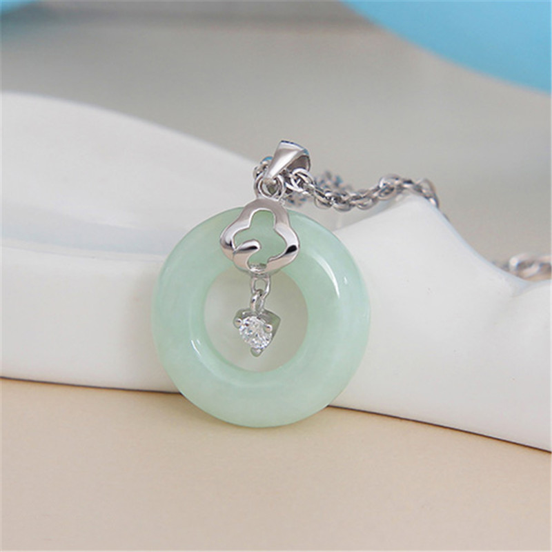 925 Sterling Silver light green jade Necklace Pendant Jewelry ...