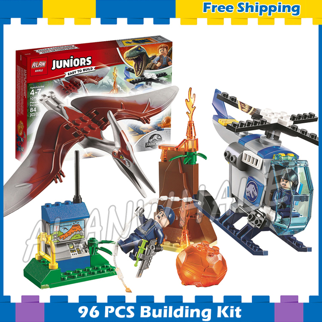 96pcs Jurassic World Juniors Pteranodon Escape Lava Volcano Model Building  Blocks Dinosaur Kids Gifts sets Compatible With Lego-in Blocks from Toys &