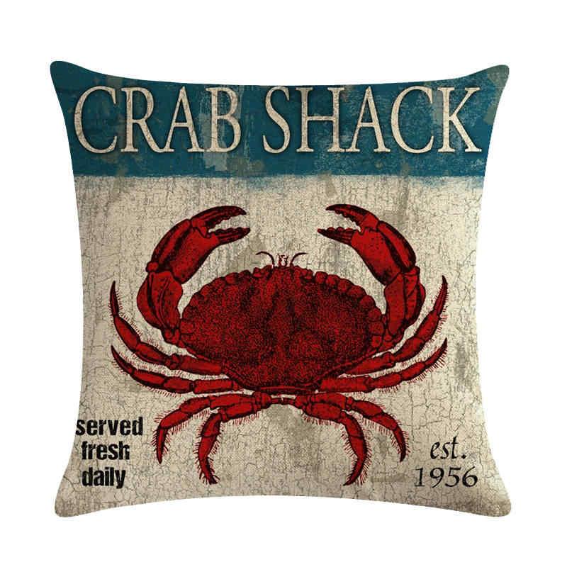 45 cm * 45 cm Antike krabben und haut garnelen design leinen/baumwolle werfen kissen deckt couch kissen abdeckung hause dekorative kissen