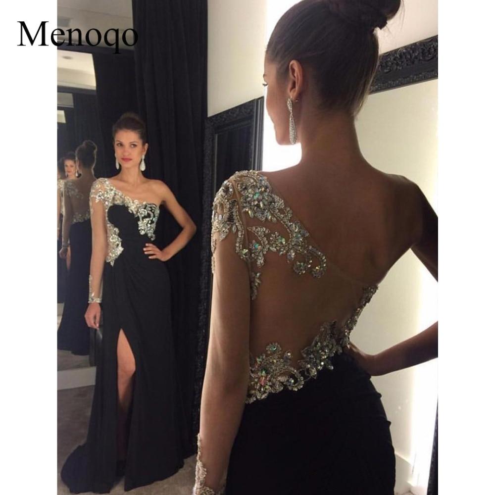 1192 w sexy sparkly cristal frisada um manga comprida frente slit prom dresses 2017 chiffon preto sereia longo festa à noite dress