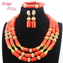 Luxury Nigerian Orange Coral Beads Necklace Set Wedding beads Indian Dubai Bridal Statement african beads jewelry Set E1149(China)