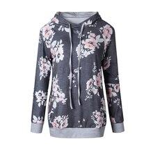 Women Printed Floral Hoodies 2017 Autumn Winter Female Long Sleeve Casual Gray Hoddie Sweatshirt Ladies Sweet Loose Pullovers