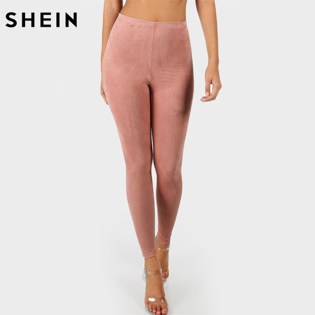cf1dd791d0d33 SHEIN High Waisted Suede Leggings Solid Pink Workout Leggings Activewear Fitness  Clothing Autumn Womens Leggings Pants