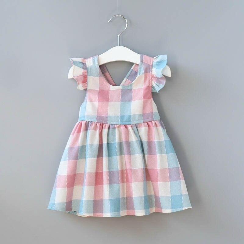 Wholesale Summer New Girl Dress Fare Sleeve Plaid Cotton Suspender Dress Buttons Casual Dress Children Clothing
