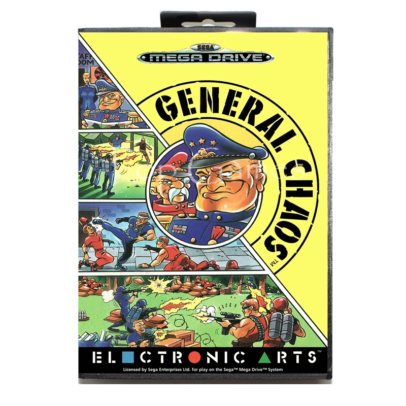 General Chaos with Box for 16 bit Sega MD Game Card for Mega Drive for Genesis Video Console