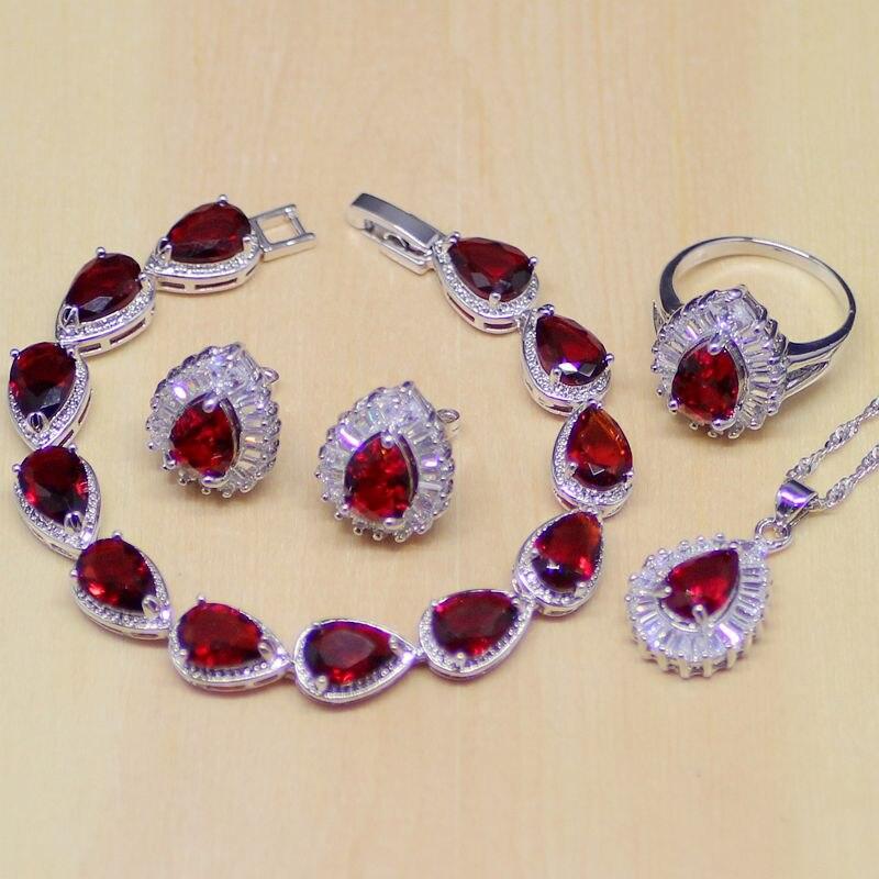 DemüTigen Wassertropfen Rote Cz Weißen Zirkon 925 Sterling Silber Schmuck Sets Frauen Ohrringe/anhänger/halskette/ring/armband Brautschmuck Sets