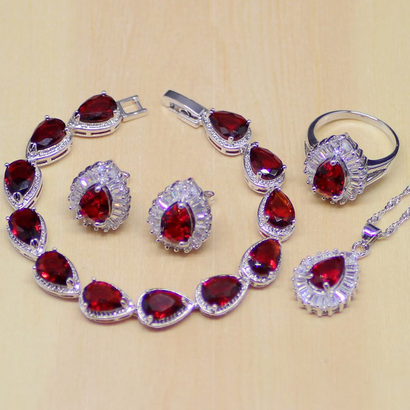 Water Drop Red CZ White Zircon 925 Sterling Silver Jewelry Sets Women Earrings/Pendant/Necklace/Ring/Bracelet цена 2017