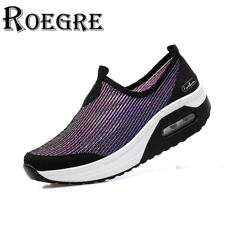 ФОТО ROEGRE New 2017 Fashion Women Wedge Shoes Mesh Slip On Outdoor Walking Trainers Gradient Colors Casual Shoes Purple Plus Size 41