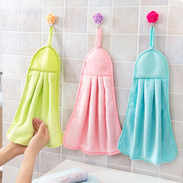 1 pc cute bathroom wipe bath towels hung clean kitchen hand towels absorbent dishcloth hanging multifunction - Kitchen Hand Towels