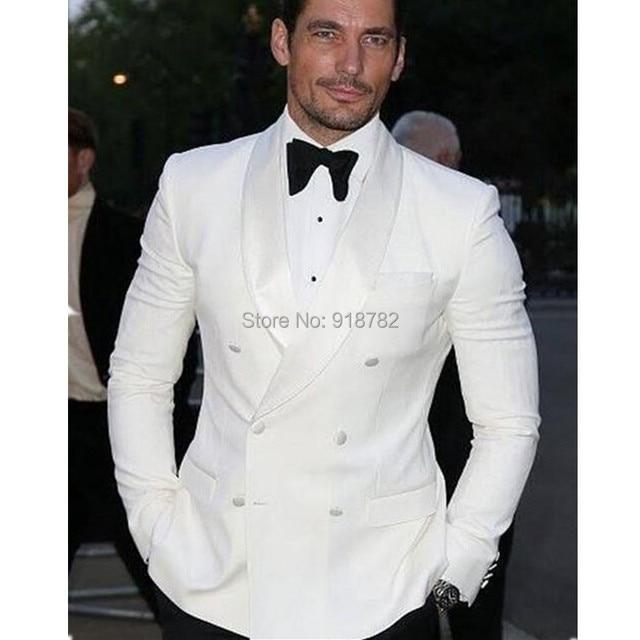 Men Coat Pant Styles 2017 Shawl Lapel White Tuxedos For Best Man Blazer Groom Double