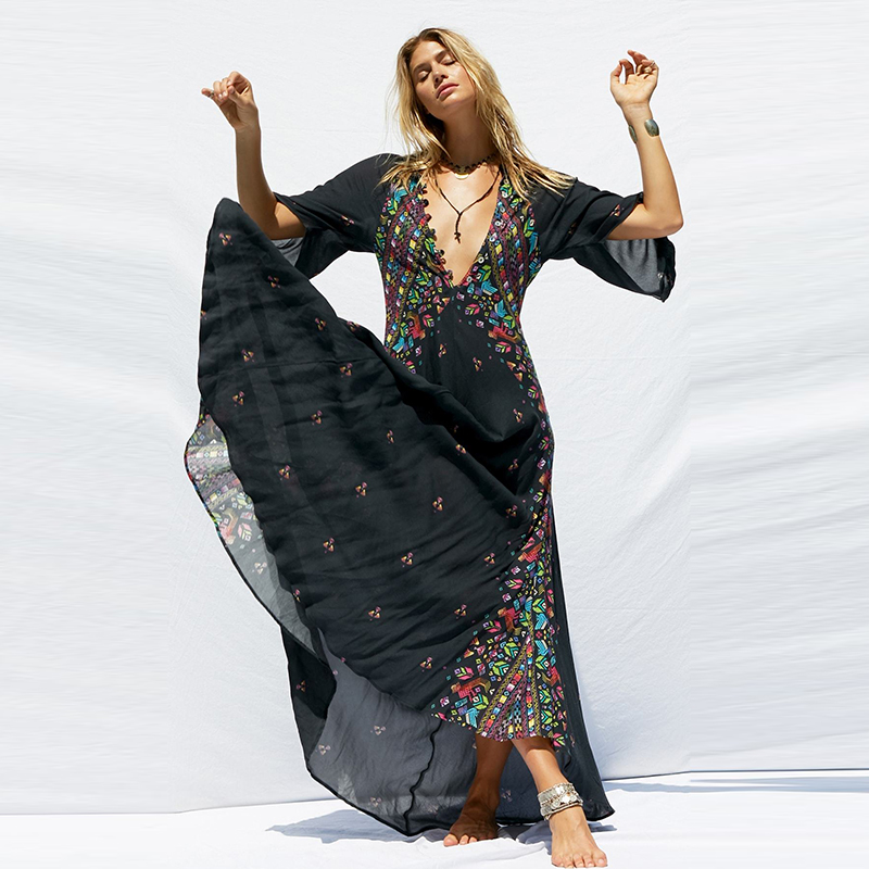 KIYUMI Étnica Boho Vestido Maxi Das Mulheres Com Decote Em V Floral Impressão Kimono Alargamento Manga Vestido de Praia Preto Botão Casual Vestido Vestido de Verão
