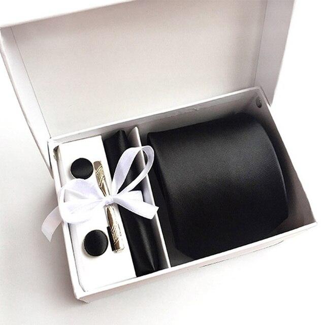 2019 de moda para hombre corbata corbatas de seda punto corbatas para los hombres corbata pañuelo regalo gemelos caja de embalaje de la ropa de los hombres accesorios