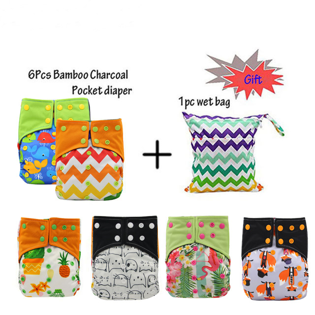 Reusable AI2 Cloth Diapers Baby Nappy Bamboo Charcoal Pocket Diaper Cove Adjustable Washable Ohbabyka Cloth Nappies