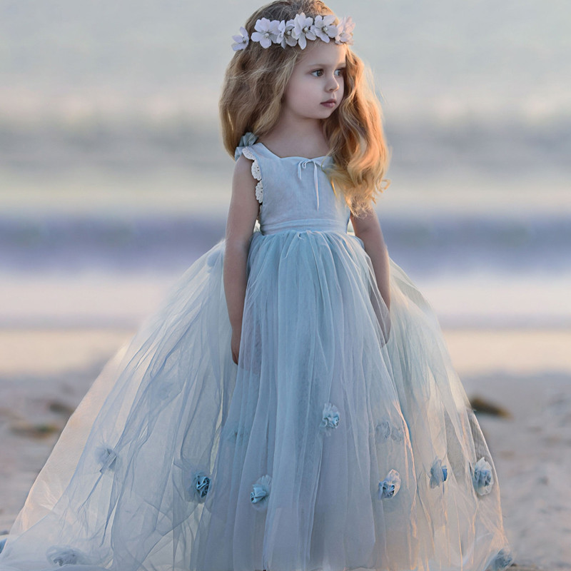 New Puffy Flower Girl Dress for Wedding Sleeveless Princess Pageant Gowns Girls Vestidos Size 2-14Y наклейки dealnium 3d r rline 30