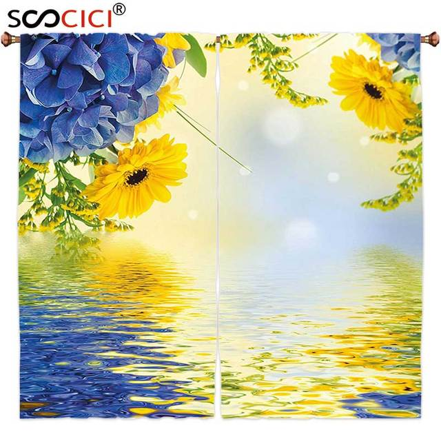 879299e64edb7 ستائر النوافذ العلاجات 2 لوحات ، الأصفر والأزرق خلفية رومانسية باقة الكوبية  و زهور النجمة على