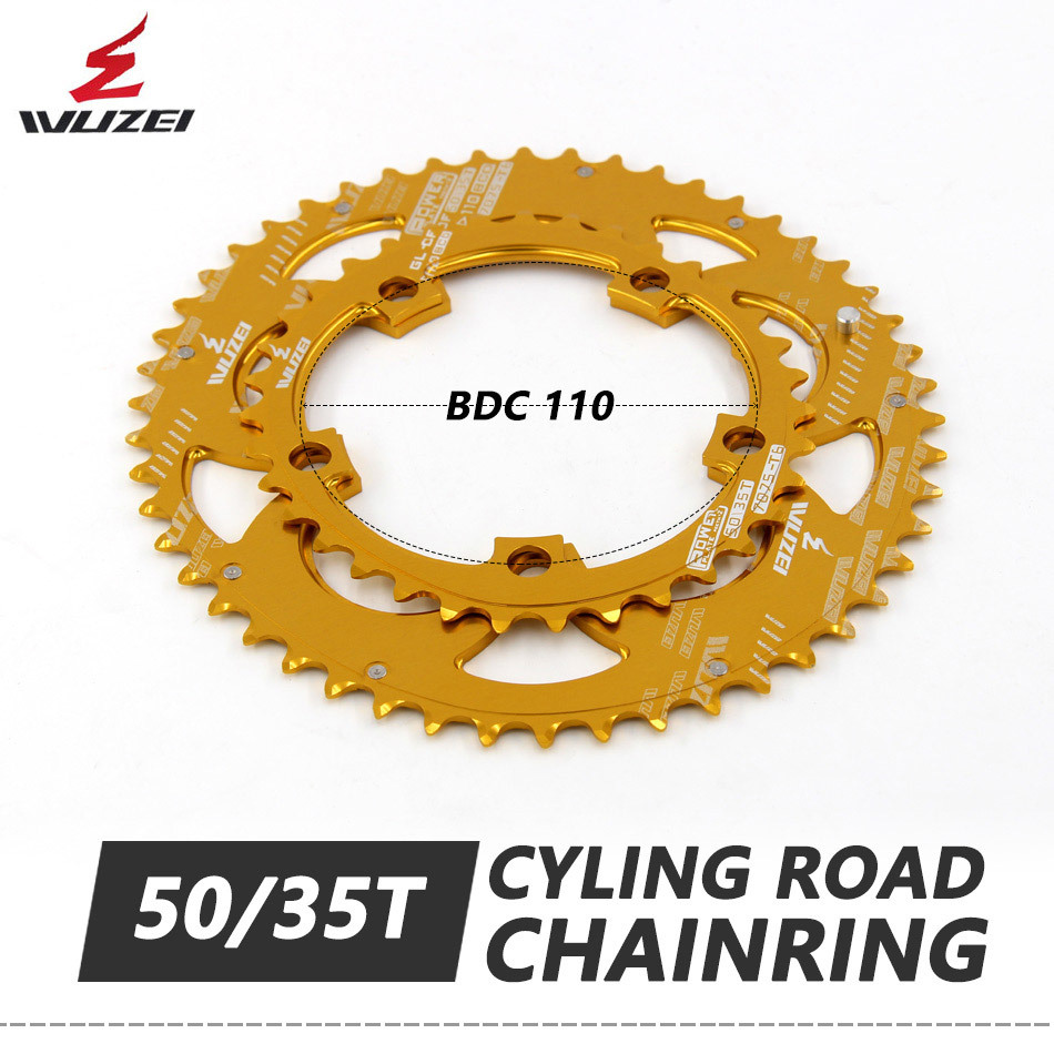 Ultralight WUZEI Road Bicylcle tooth plate <font><b>110BCD</b></font> 35/<font><b>50T</b></font> Oval Chainwheel 7075-T6 Aluminum Alloy Climbing Power Chainring Plate image