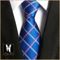 Дизайн одежды 8 см Галстук Классический Партия Синий Плед Cravatas Господа Высокое Качество Тканые Gravatas для Взрослых