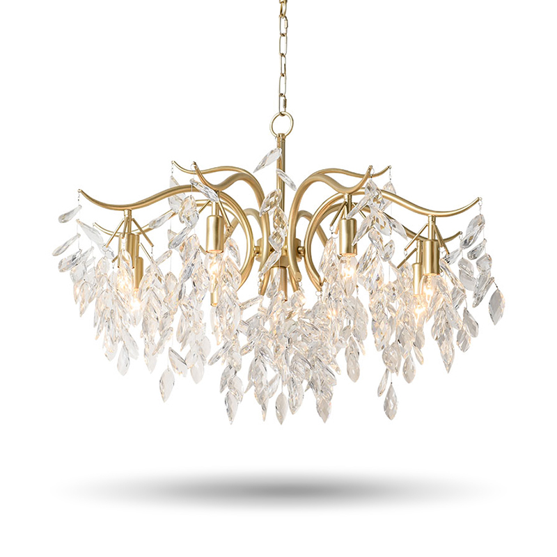 New arrival luxury LED K9 crystal chandelier gold living room dinning room chandelier coffee room Leaf Chandeliers light 90-260V chandelier