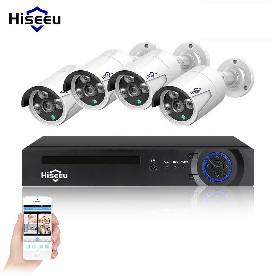 Hiseeu 4CH 1080P HD NVR Kit POE CCTV System 4PCS 2MP Outdoor IP Camera IP66 Waterproof P2P Onvif Security Surveillance XMEYE