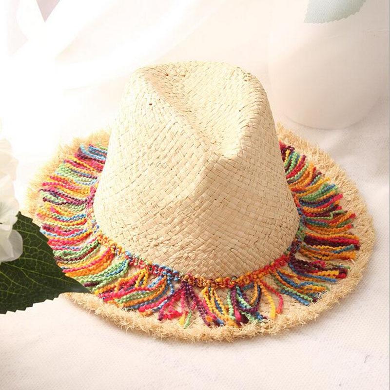 2017 di Modo delle Donne Tesa Larga Cappello di Paglia di Estate Stile  Rafia Cappello Floscio Pieghevole Sfilacciata Chapeau Paille Beach Panama  Sole ... 011ffe91e209