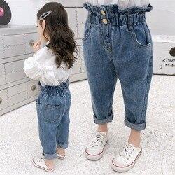 Летние джинсы для маленьких девочек, штаны, детская одежда, хлопковые Повседневные детские штаны, джинсовая одежда для мальчиков-подростко...